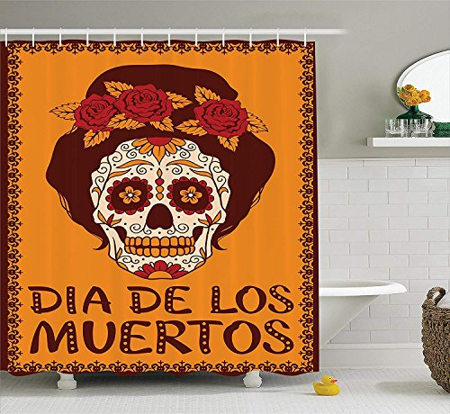 Skulls Decorations Collection, Frame with Mexican Skull Girl Female Hairstyle Carnival Smily Ornate Party Image, Polyester Fabric Bathroom Shower Curtain Set with Hooks, Orange Maronn,66x72 inches