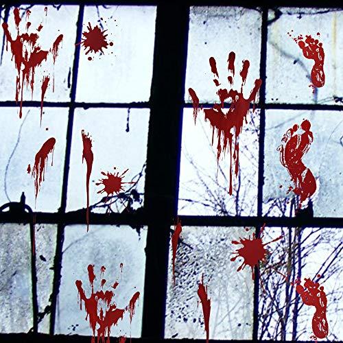 Hostan Halloween-Fenstersticker blutige Handabdrücke Fußabdrücke Boden/Fenster Frischhaltefolie blutige Designs mit Blutspritzer und Wundtattoos für ()