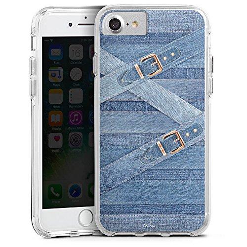 Apple iPhone 8 Bumper Hülle Bumper Case Glitzer Hülle Marina Hoermanseder Schnallen Jeans Bumper Case transparent