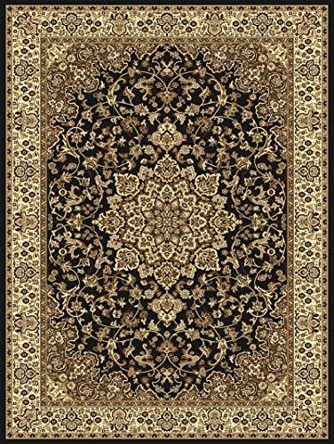 Carpeto Rugs Teppich Orientalisch Wohnzimmer Kurzflor Esszimmer Beige Schwarz 140 x 200 cm M - Schwarz Persian Rug