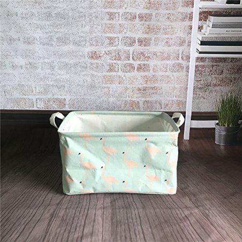 Inwagui Faltbaren Aufbewahrungskorb Wäschekorb Kinder aufbewahrung Spielzeug Warenkorb Kleidung Halter mit Deckel 39* 25* 22cm-Flamingo B