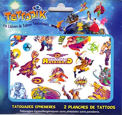 tattooik Super Helden Tattoo Ephemere temporäre Hypoallergen hergestellt in Frankreich 2Brett 40–Juwelen für ca. Kinder Mädchen ()
