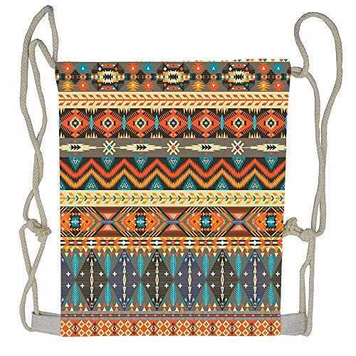 Naiyin Colorful Tribal Pattern with Geometric Elements Drawstring Bag Men Womens Gym Backpack Vintage Small Bags for Youth Universal Mobile Pouch