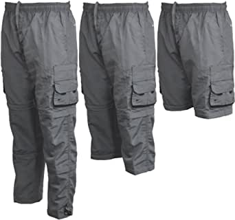 Clothing Unit Mens Zip Off Cargo 3 in 1 Trousers Tracksuit Sport Casual Bottoms 3/4 Shorts