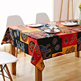 Toechmo Rectangular Cotton Linen Fashion Mayan Culture Printed Washable Tablecloth Vintage Oblong Dinner Picnic Table Cloth Home Decoration Assorted Size