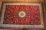 Karatcarpet Orientalischer Teppich Kurzflor Kollektion Lotos 523/210 Rot, Seidenglanz, Muster: Bordüre, Ornamente. (300 x 500 cm)
