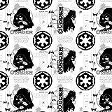 """Camalot, Stoff, 100 % Baumwolle, für Kleider, Quilts, """"Star Wars Rogue One""""-Lizenzprodukt, Darth Vader, Rebellen White star wars Darth Vader 7370104-2"""