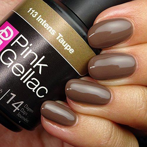 Vernis à ongles Pink Gellac 113 Intens Taupe. 15 ml gel Manucure et Nail Art pour UV LED lampe, top coat résistant shellac