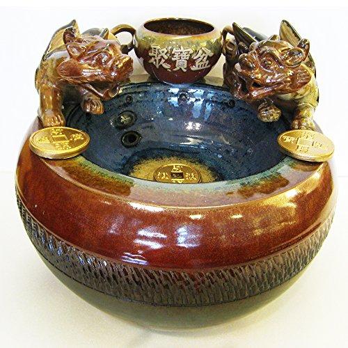 Handgemachte Keramik Zen Kunst der Meditation |Elegante Schönheitsdekoration für Haus oder Garten|Feng Shui PI-Xiu glücklicher Brunnen Dekoration mit Pumpe & LED-Licht (großes Set-L37xB35xH30xB20cm) -