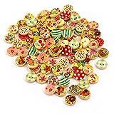 Oblique-Unique® 100 Stück Holzknöpfe Rund im farbenfrohen Blumen Design I Durchmesser 15mm - Nähen Kleidung Deko Basteln