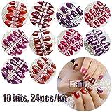 Rouge Série Faux ongles courts carré Pure Couleur Violet satiné ongles en acrylique en gros 10Kits simplement conçu pour embouts 240pcs totalement