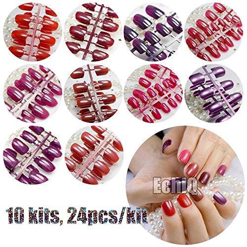 Rouge Série Faux ongles courts carré Pure Couleur Violet satiné ongles en acrylique en gros 10 Kits simplement conçu pour embouts 240 pcs totalement