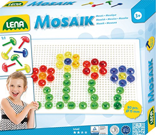Lena 35602 - Mosaik Steckspiel Set mit 80 transparent farbigen Mosaikstecker je 15 mm und Stiftplatte 21 x 16 cm, Steckmosaik für Kinder ab 3 Jahre, mit Steckvorlagen Tiere, Blumen und Fahrzeuge