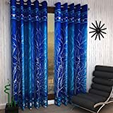 Home Sizzler 2 Piece Eyelet Polyester Door Curtain Set - 7ft, Blue
