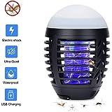 Hisome Lampada Zanzara, 2-in-1 Lampada Anti-zanzara & Lanterna da Campeggio Lampada da Tenda IP67 Antipioggia Bug Zapper LED Carica della Lampada Tramite USB 2200mAh (Nero)