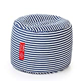 Style Homez Round Cotton Canvas Stripes Printed Bean Bag Ottoman L Sizewith Fillers