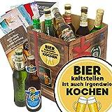 Bier kalt stellen ist auch irgendwie kochen | Bierpaket mit Bieren der Welt | Bier Geschenk Box mit Bieren der Welt INKL | 6x Geschenk Karten für jeden Anlass + 1x Bier - Bewertungsbogen + 3 Urkunden | Personalisierte Geschenk-Box - Bier mit Bieren der Welt kalt stellen ist auch irgendwie kochen | Bier Geschenk Geschenkideen Bier kalt stellen ist auch irgendwie kochen Männer Geschenke Geschenke Mann Geschenkidee Männer