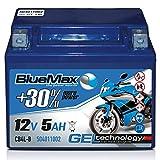 Motorradbatterie 12 V/5 Ah - 40 A/EN CB4L-B GEL 50411 BlueMax YB4L-B