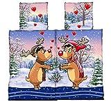 4-Teilig Microfaser Flausch/Fleece Partner Bettwäsche blau/braun/rot Weihnachten Motiv 2x 135x200 Bettbezug + 2x 80x80 Kissenbezug , weich und kuschelig