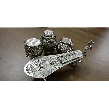 JaipurCrafts Decorative Musical Instruments Container Showpiece   Silver Utensils  Rajasthani Handicraft 
