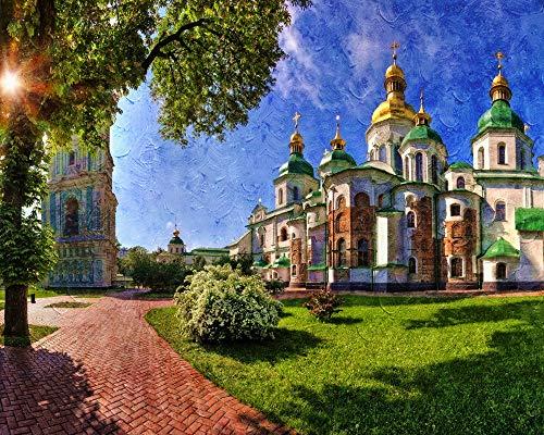 ADVLOOK Malen Nach Zahlen Für Erwachsene Anfänger Saint Sophia Kathedrale Kiew Erwachsene Anfänger Handgemalte Zeichnung Leinwand Färbung Wohnkultur Geschenk Frameless 40X50Cm
