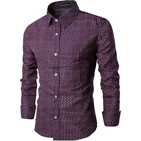 jeansian Uomo Moda Plaid Graph Check Camicia Top Men Slim Casual Shirts 84L6