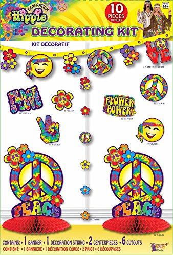 Forum Novelties X75624 Hippie-Dekorationsset, Unisex-Erwachsene, mehrfarbig, Einheitsgröße