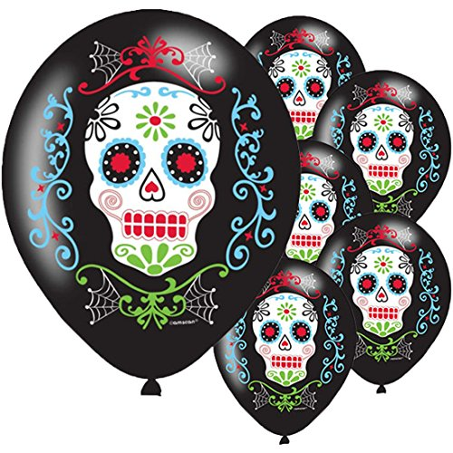 erdbeerloft - Totenkopf Luftballons Mexikanisches Totenfest La Catrina Muerte, 28cm, 6 Stück, Mehrfarbig