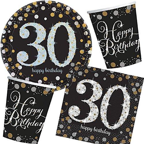 Neu: 57-Teiliges Party-Set * Sparkling Celebration * für Den 30. Geburtstag mit Teller + Becher + Servietten + Luftballons   Deko Set Party Motto Dreißig (Geburtstag Und Servietten Teller 30.)
