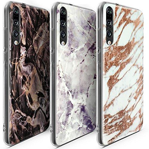 CLM-Tech kompatibel mit Huawei P20 Pro Hülle 3X, TPU Gummi Case Silikonhülle Schutzhülle 3er Set, Marmor lila schwarz weiß Gold Mehrfarbig