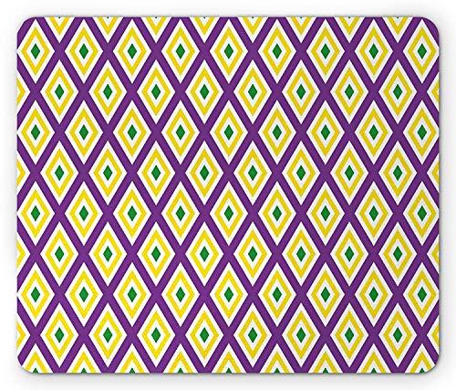 WYICPLO Mardi Gras Mouse Pad, Classical Diamond Line Rhombus Pattern in Traditional Carnival Colors, Standard Size Rectangle Non-Slip Rubber Mousepad, Purple Yellow Green (Gras Trap)