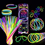 100 Premium Glow Sticks Party Pack 8 inch with Connectors to make Neon Bracelets,Necklaces,Eye Glasses and Balls for…