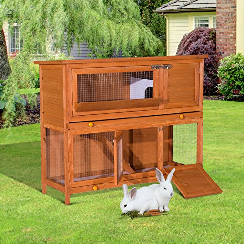 PawHut D51-009 Hasenstall Hasenkäfig Kaninchenstall Kaninchenkäfig Kleintierstall Doppelstock - 2