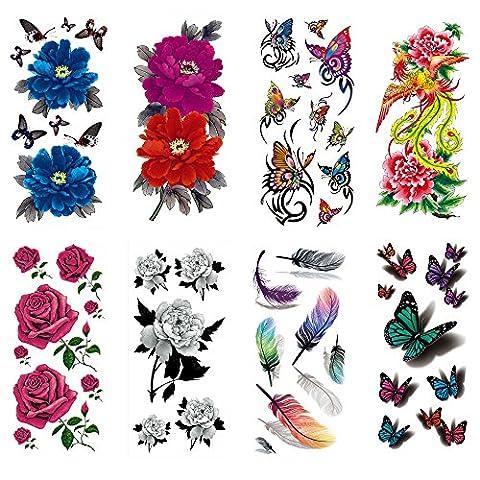 COKOHAPPY Temporaire Tatouage 8 Différent Feuilles Rose Pivoine Fleur Phénix Phoenix Plume