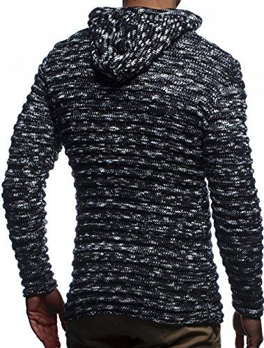 Leif Nelson Men's Knit Jacket with Hood Knitt Zip Up Cardigan Hoodie LN20724 Schwarz