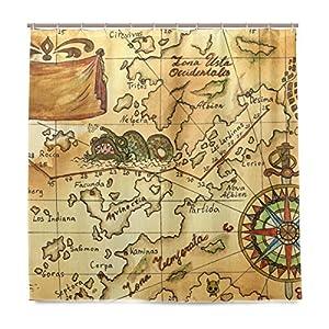 COOSUN – Juego de cortina de ducha con diseño de mapa pirata y rosas de viento, tela de poliéster repelente al agua, decoración del hogar, con ganchos, 72 pulgadas de ancho x 72 pulgadas de largo