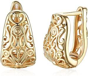 Orecchini da Donna in Filigrana con perno in oro placcato a cerchio piccolo per ragazze/signore.Gioielli con borchie a fiore incavate, regalo per la festa della mamma, Natale, San Valentino