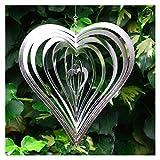 Windspiel Herz aus polirten Stahl Garten Deko