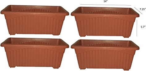 Khoji Venus Rectangular Window Planter Flower Pot (667) - Set of 4 Pots