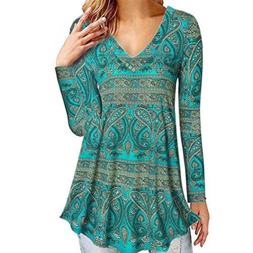 UFACE Damen Langarm-Knopf Einfarbig T-Shirt Top Langarm Einfarbig Knopf beiläufige Lose Tops Tunika Bluse Shirt(Blau,EU/50CN/2XL)