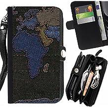 Graphic4You Africa Europe World Map Sewn Denim Jeans Diseño Carcasa Funda Monedero Con Cremallera y Correa de Muñeca Para Sony Xperia T3