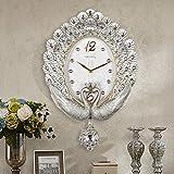 FortuneVin Wanduhr Bad Wanduhr mit Wanduhren lautlosem Uhrwerk Kein nerviges Ticken Retro Art Deco Wanduhr Tabelle, Silber Schalen