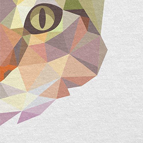 TEXLAB - Polygon Cat - Herren Langarm T-Shirt Weiß