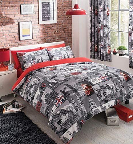 Deluxe beddings, set di biancheria da letto con copripiumino e federe, in policotone, con stampa di londra, per letto singolo, matrimoniale, king e super king, policotone, grey/red, doppio
