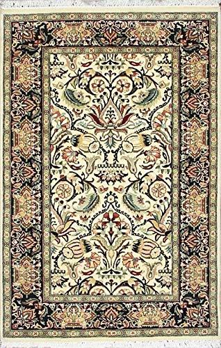 Mehar Carpets & Home Traditioneller handgeknüpfter Perserteppich, 100% Wolle, Schwarz/Beige -