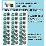 1200 étiquettes pour timbre 63,5 x 33,9 mm compatible montimbre en ligne étiquette pour timbre SOIT 50 planches de 24 étiquettes(l7159) boite carton rigide Fabricant: univers graphique ® FACTURE AVEC TVA