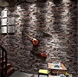 H&M Tapete Qualität PVC Retro Nostalgie einfach 3D Nachahmung Ziegel Tapete Dekoration Wohnzimmer Restaurant TV Wand Schlafzimmer Coffee Shop Tapete 0.53 m * 10 m -Ivory weiß / Brick rot / Braun grau / Ink gr , brown
