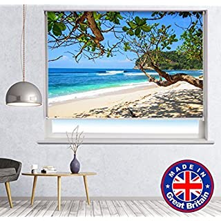 Summer Beach Scene Tropical View Printed Picture Blackout Photo Roller Blind - Custom Made Window Blind