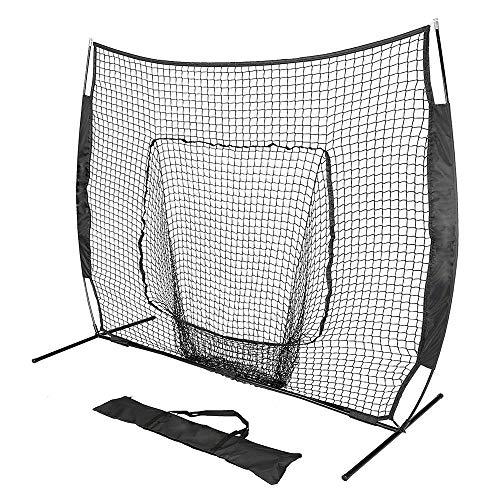 ZFH Zusammenklappbares Baseballnetz/Softballnetz mit großem Mund, Bogennetzrahmen und Tragetasche, 7 '× 7' hochwertiges Oxford-Material, Outdoor-Sportnetz