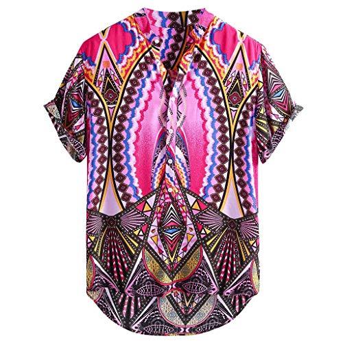 Sommerhemd Herren Kurzarm Henry Shirts Hawaii-Print Lässig Button Down Strandurlaub Hemd Aloha Kurzarm Hawaii Hemd -